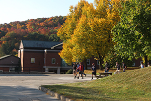 fall scene on campus, building and trees