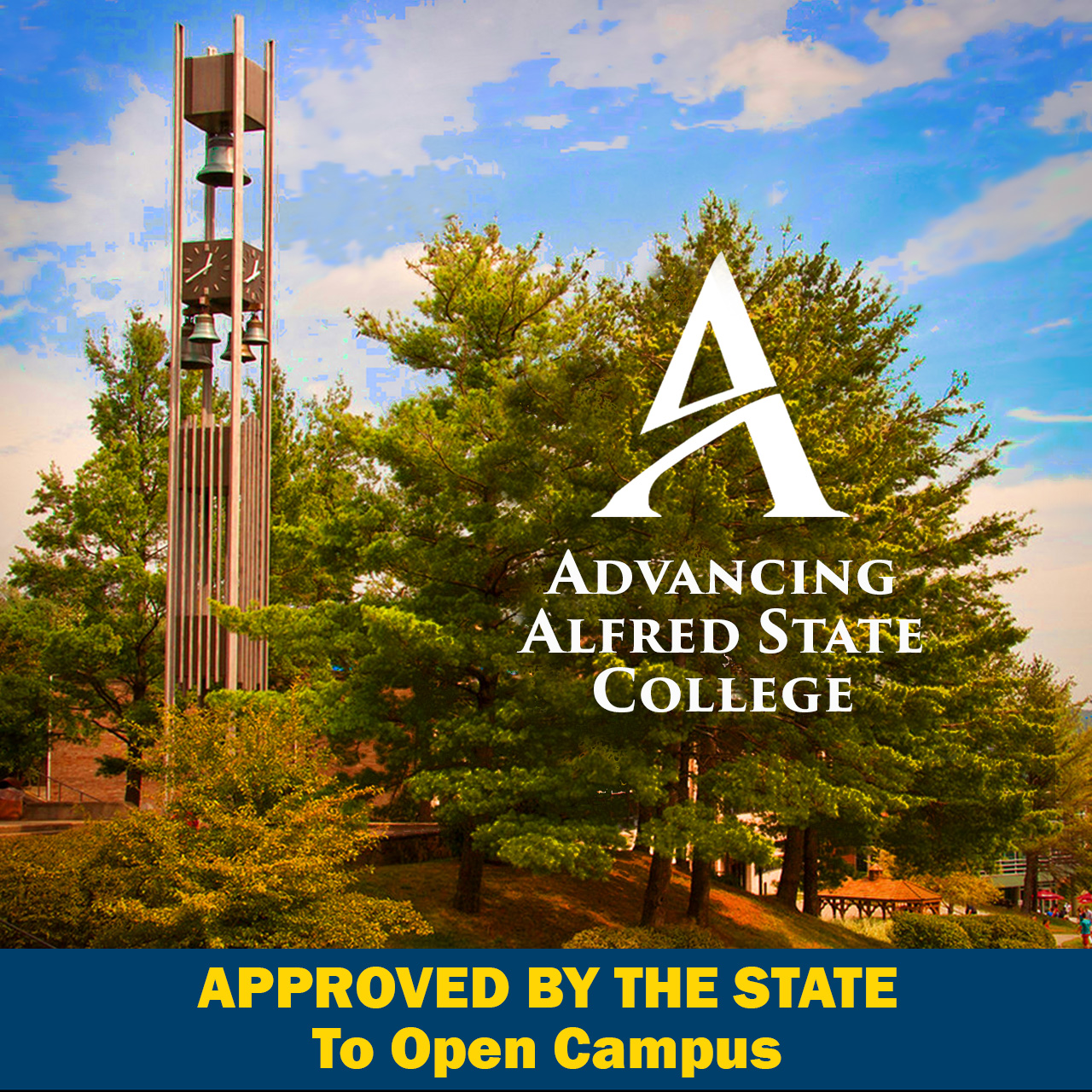Picture of Alfred State campus, including bell tower. Approved by the State to open campus