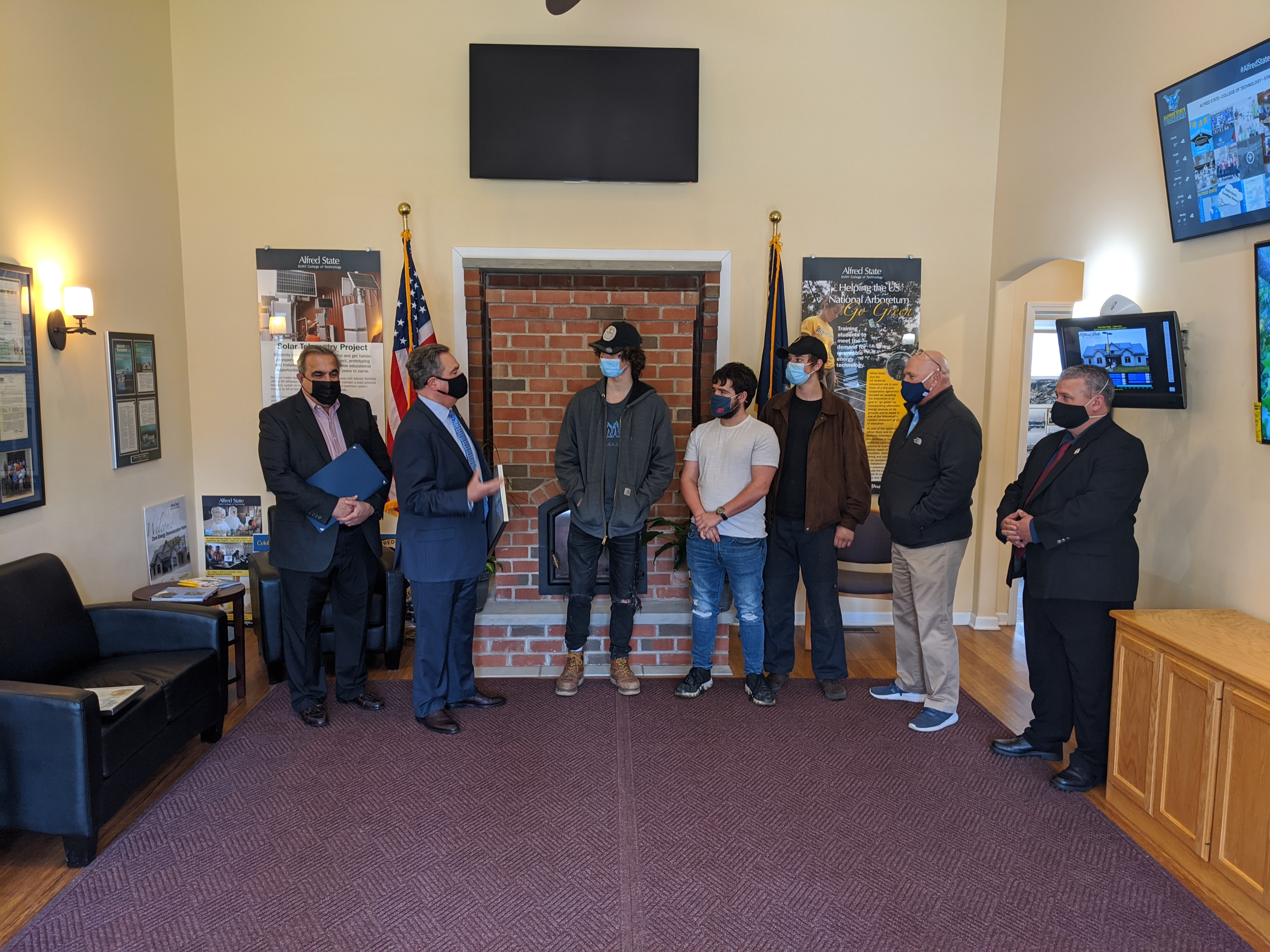 Senator George Borrello and Assemblyman Joe Giglio meet with Alfred State students