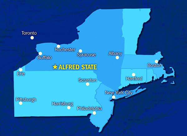Alfred State located on map of NY, PA and New England states
