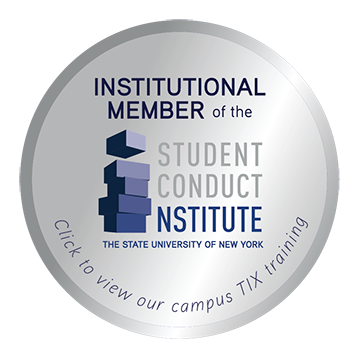 Institutional Member of the Student Conduct Institute logo, The State University of New York, Click to view our campus TIX training