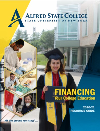 cover of the financing your college education guide, view of student wearing commencement cap