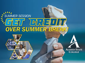 summer session, ice cream cone, get credit over the summer, link to summer session web page