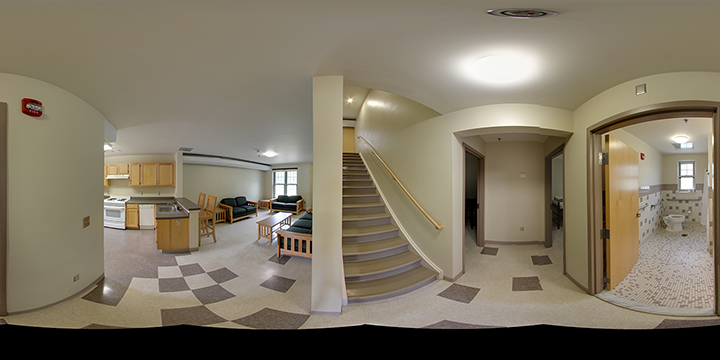 inside pano of the townhouse common area, walls and furniture