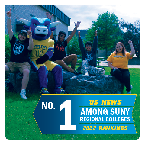 US News, #1 SUNY Regional College, students with mascot giving thumbs up