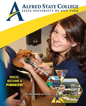 cover of the student viewbook, image of a veterinary student
