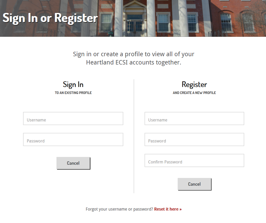 screenshot of the heartland.ecsi Sign-In Page