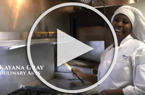culinary arts student in kitchen link to youtube video