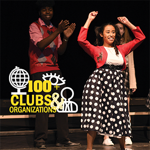 100+ Clubs and Organizations, students dancing and clapping