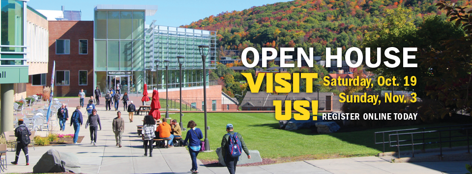 OPEN HOUSE visit us! Saturday, Oct. 19 or Sunday, Nov. 3. Register online today. Photo of campus with fall foliage and students walking on sidewalk