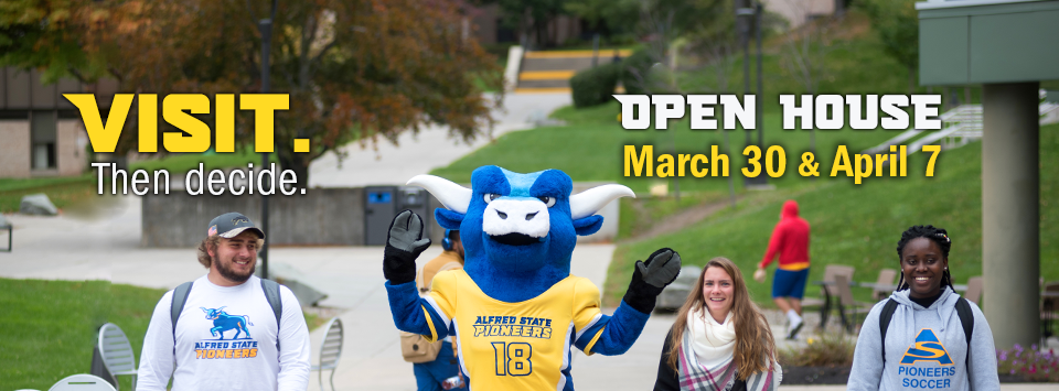 Visit. Then decide. Open House March 30 & April 7. Image of students with the Ox mascot on campus.