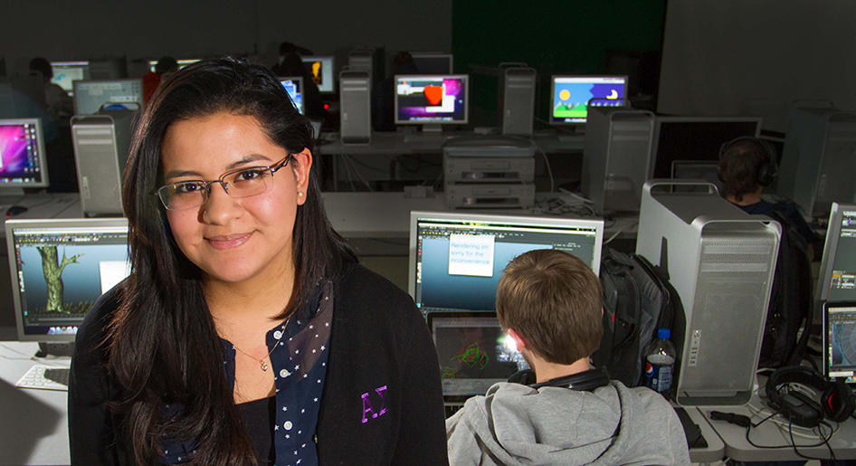 Patty Padilla in a computer lab