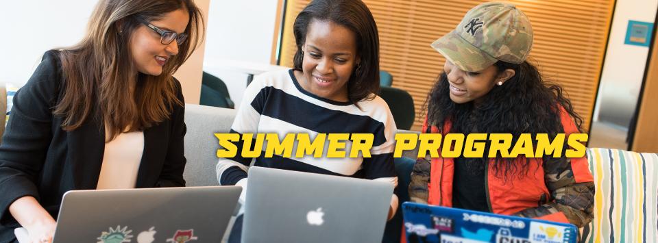 Summer programs. Image of people using laptops.
