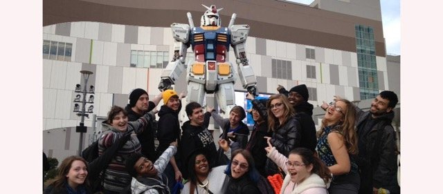 students in Tokyo with robot