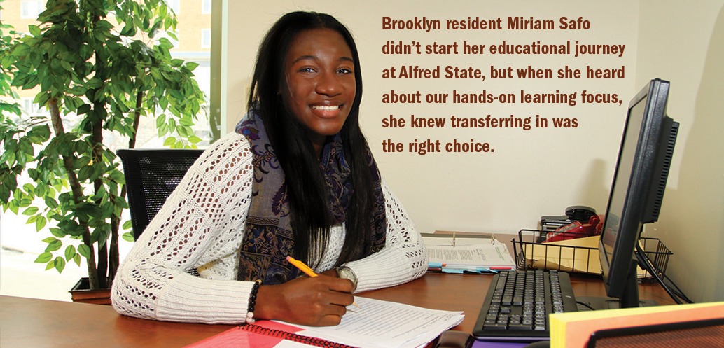 female student at a desk with computer, Brooklyn resident Mariam Safo didn't start her educational journey at Alfred State, but when she heard about our hands-on learning focus, she new transferring in was the right choice.